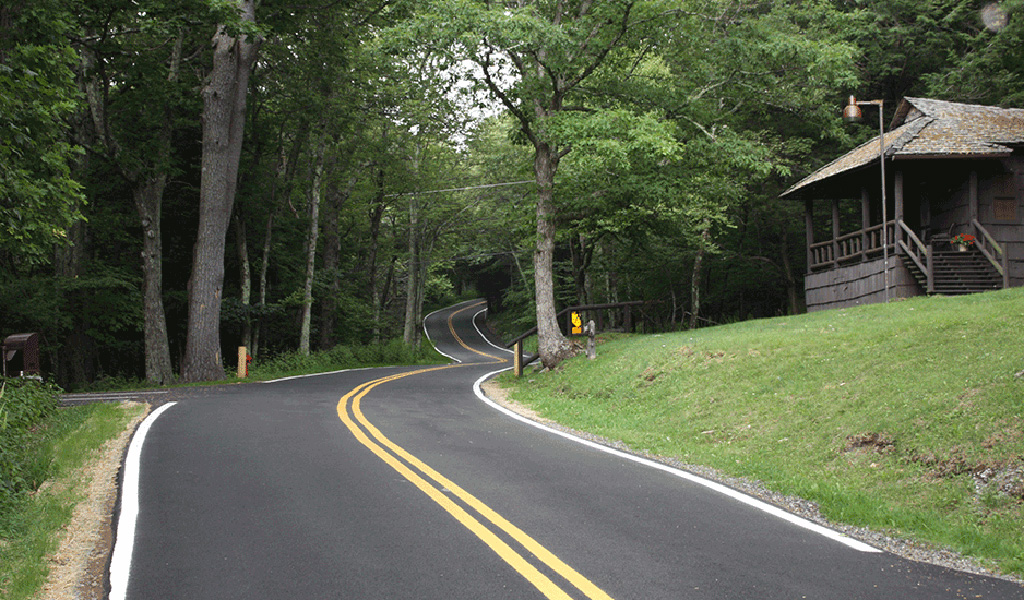 Roadway through Shenandoah National Park.