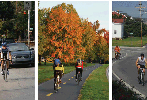 Collage of bikers in urban, suburban, and bike trail environments.