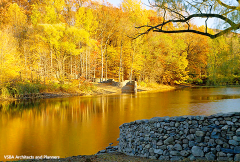 Waterfront view in autumn at Storm King Art Center in New Windsor, NY.
