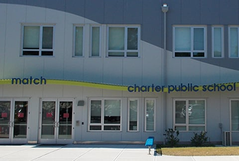 Main entrance of the Match Charter Public School in Boston, MA