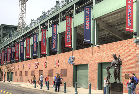 Banners along the side of Fenway Park in Boston.