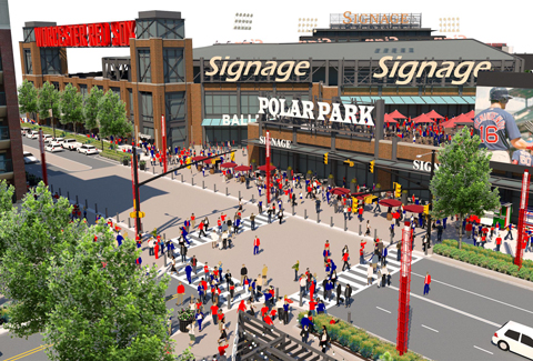 People cross to the stadium in this rendering of Worcester's Polar Park.