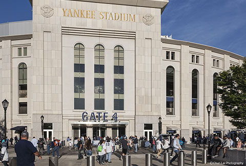 Visitors congregate outside of Yankee Stadium in New York.