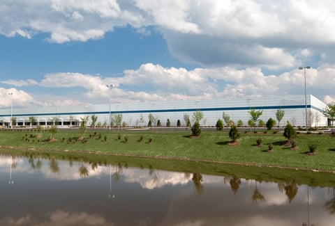 Clouds reflect on the lake in front of the Canon Technology Center in Newport News, Virginia.