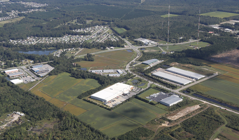 Aerial view showing roadway access to Prologis Park at Northgate Commerce Park.