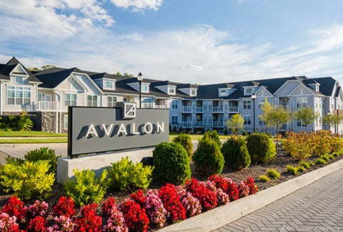 Iconic sign and entrance to Avalon development.