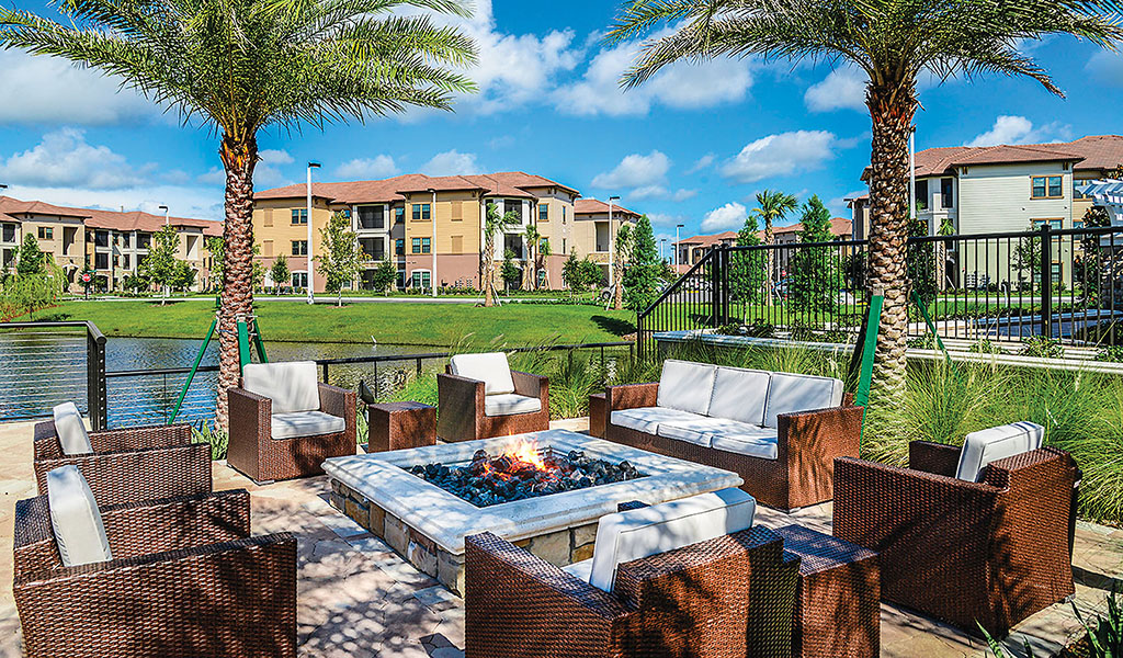 Outdoor living space at the Sanctuary at Eagle Creek in Orange County, Florida.