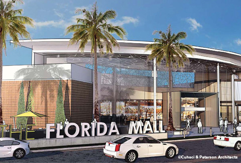 Florida Mall entrance with sign and drop-off area in Orlando, Florida