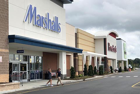 View of Marshalls and HomeGoods at the Shops at Riverhead in New York.