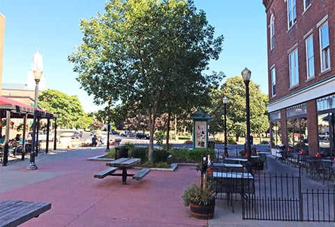 Picnic tables and benches sit in the shade of a tree in a town square outside a brick building.