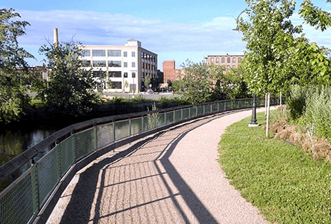 Pathway in downtown Lowell, Massachusetts