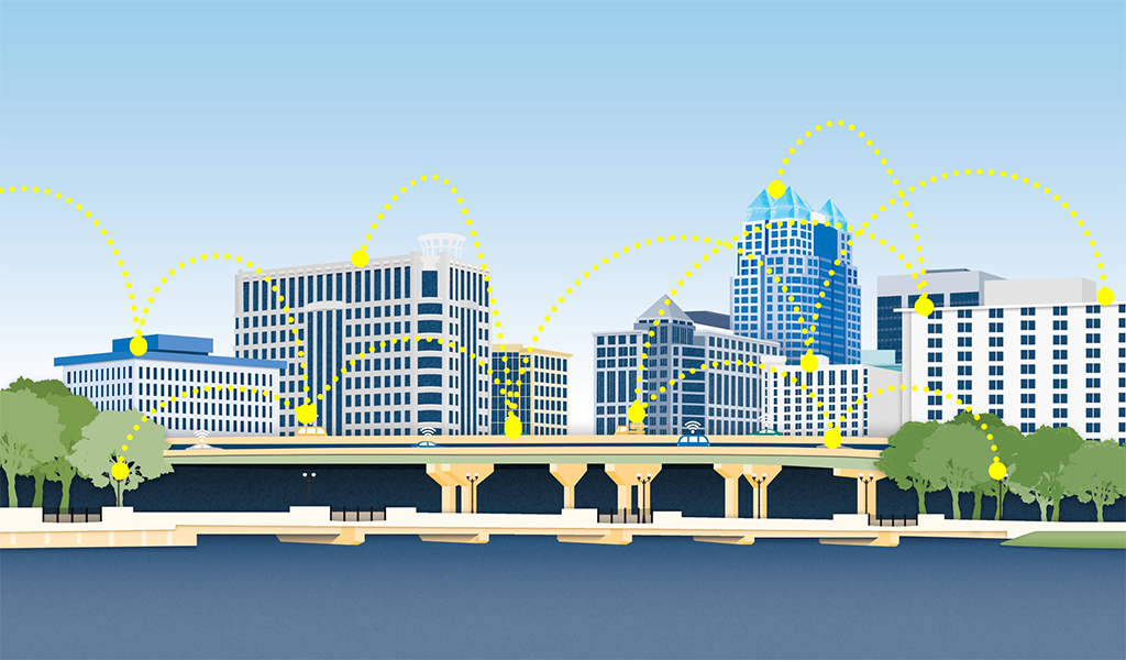 FutureCities graphic showing the downtown skyline with the yellow dotted connection points
