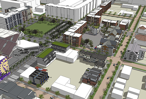 Sketch-up 3D rendering of the Parramore neighborhood in Orlando.