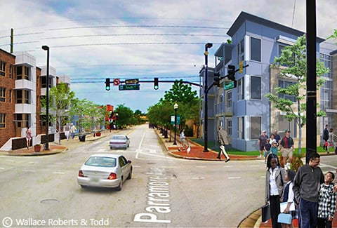 Photo-realistic rendering of the Parramore neighborhood in Orlando.