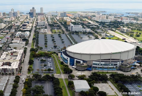 Aerial view of Tropicana Stadium site.