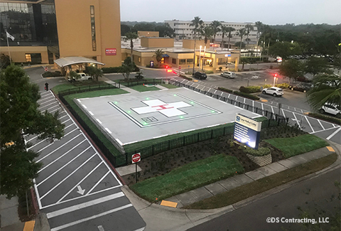 The completed helipad stands outside the Largo Medical Center.