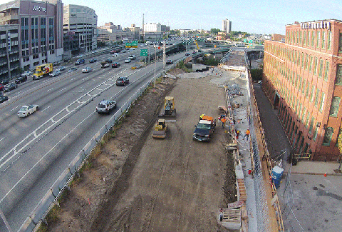 Construction of the I-95 viaduct in Providence, Rhode Island.