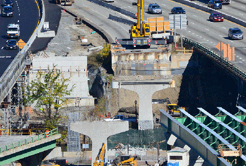 Progress photo of construction on the I-95 viaduct in Providence, RI.
