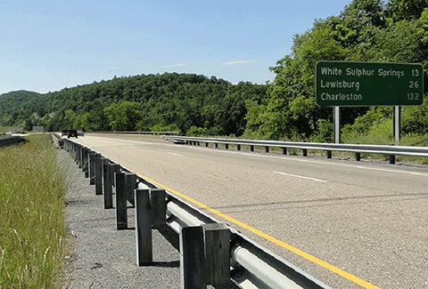 A highway with informational signage in Virginia.