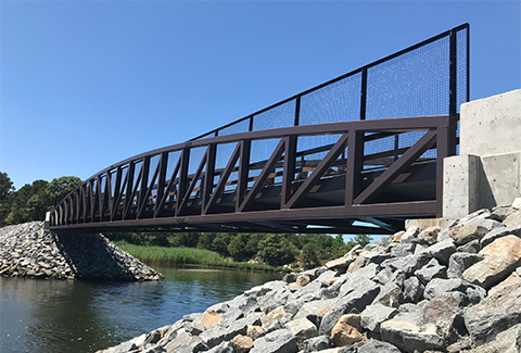 Design of bridge showing the Cape Cod Rail Trail extension crossing the Bass River.