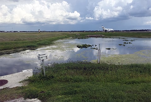 A plane sits on the runway past wetlands at Orlando Executive Airport.