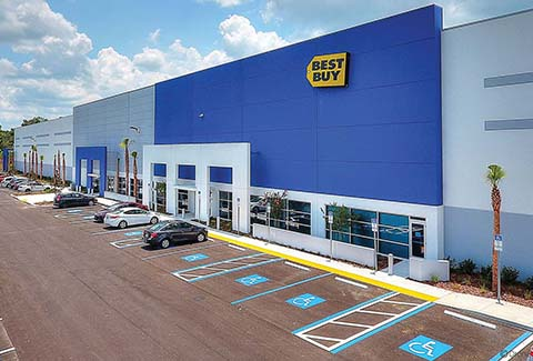 Parking in front of the Best Buy Distribution Center in Polk County, Florida.