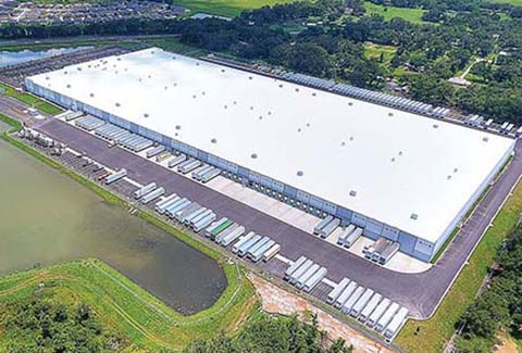 Aerial view of the Best Buy Distribution Center in Polk County, Florida.
