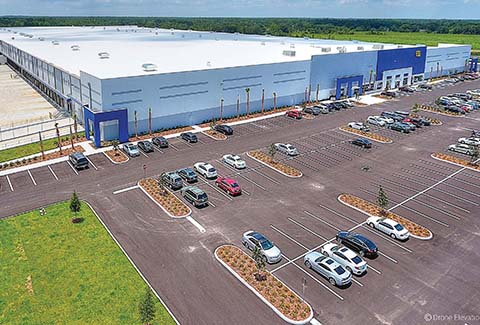 Aerial view of the Best Buy Distribution Warehouse in Polk County, Florida.