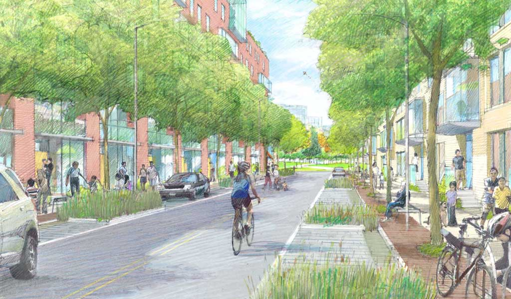 Rendering of roadway and sidewalks at Willets Point in Queens, New York.