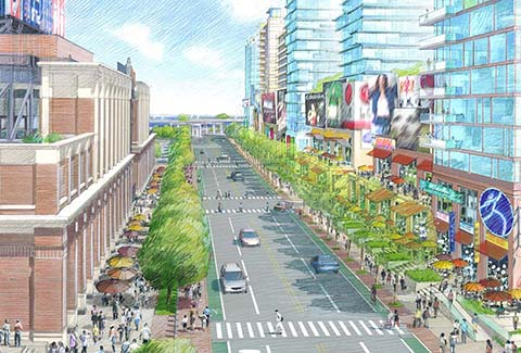 Streetscape rendering of corridor at Willets Points in Queens, New York.