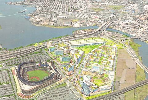 Aerial rendering of Willets Point in Queens, New York.