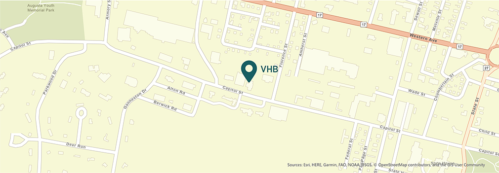 Location of VHB's Augusta, Maine office.
