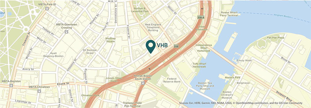 Location of VHB's Boston, Massachusetts office.