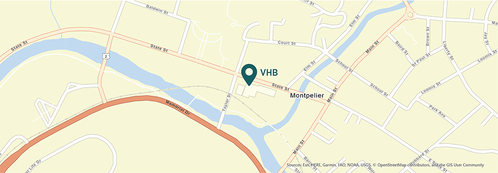 Location of VHB's Montpelier, Vermont office.