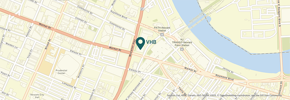 Location of VHB's Newark, New Jersey office.