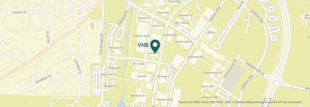 Location of VHB's Raleigh, North Carolina office.