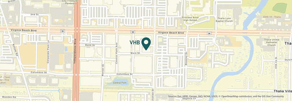 Location of VHB's Virginia Beach, Virginia office.