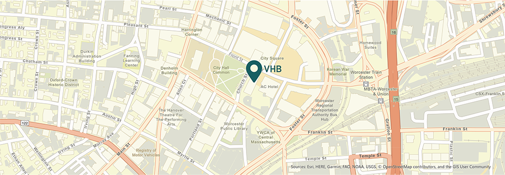 Location of VHB's Worcester, Massachusetts office.