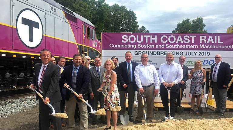 The South Coast Rail (SCR) project breaks ground in East Freetown, Massachusetts.