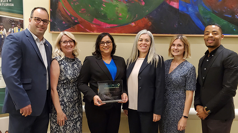 VHB's Sophia Villavicencio-Ortiz receives CUTR's New Voice in Transportation award.