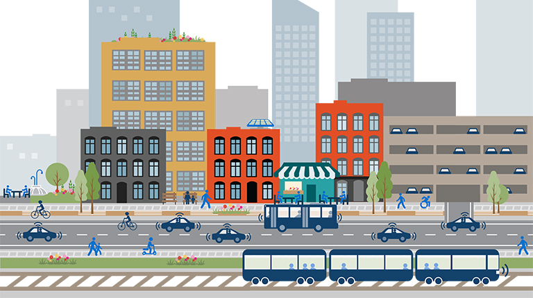 VHB-created graphic showing colorful city and multimodal transportation