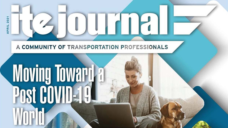 Cover of ITE Journal with blue and white graphics featuring a woman in a gray sweater.