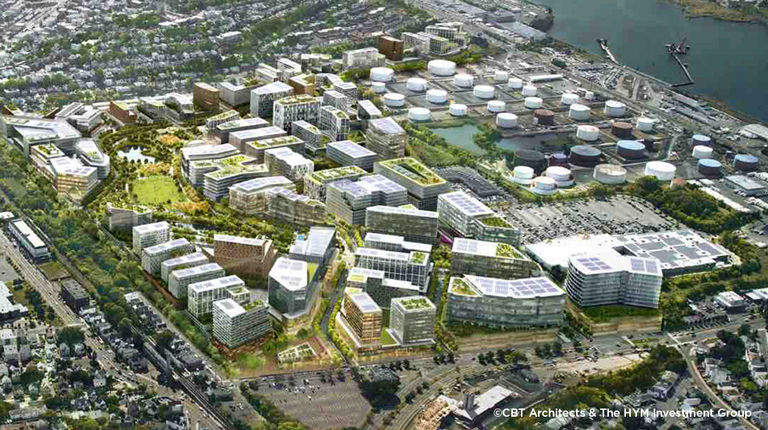 Aerial view of a Suffolk Downs redevelopment rendering