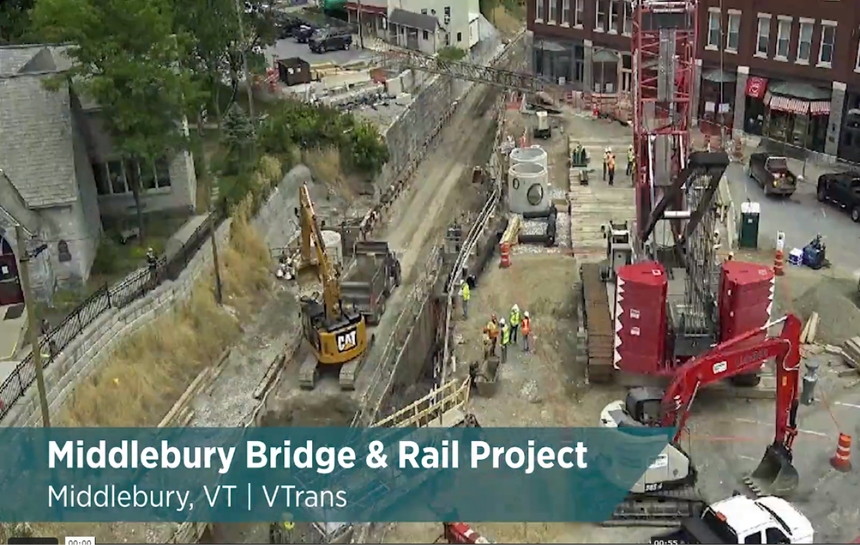 Time-lapse video shows construction on VTrans' largest infrastructure project, with crews assembling a single precast concrete tunnel and over 400 individual precast pieces that make up the retaining walls.