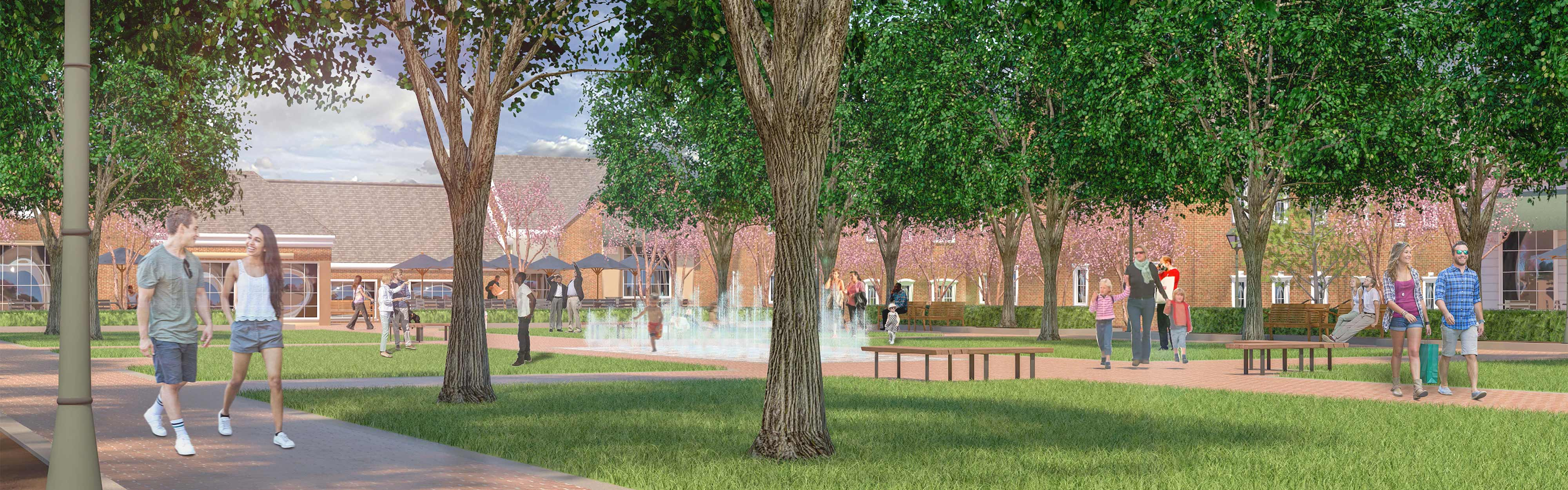 Merchants Square in Williamsburg, VA, includes green space, walking paths, and benches.