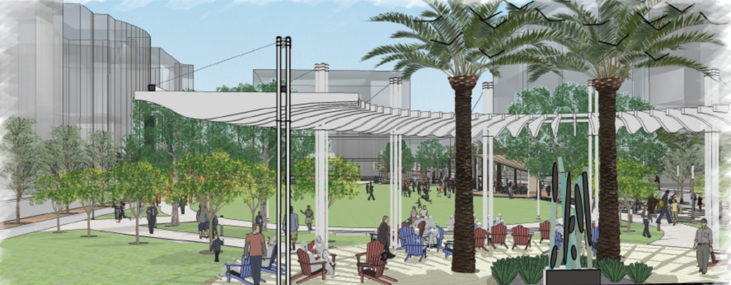 Creative Village in Orlando includes a planned multi-use great lawn featuring a trellis and seating area.